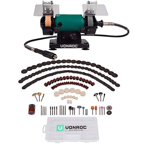 VONROC Smerigliatrice da banco multifunzione 150W, 75 mm. Include albero flessibile e 192...
