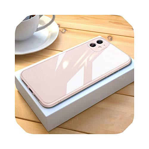 Funda para iPhone 11 12 Pro Max Mini X XR XS Max 8 7 Plus SE 2020 de cristal templado líquido cuadrado a prueba de golpes, marco suave s-rosa-para iPhone 11Pro Max