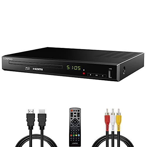 Lettore Blu-Ray HD per TV con cavi HDMI e AV, Upscaling TV Lettore CD DVD 1080P, PAL NTSC integrato, Uscita coassiale HDMI AV Ingresso USB