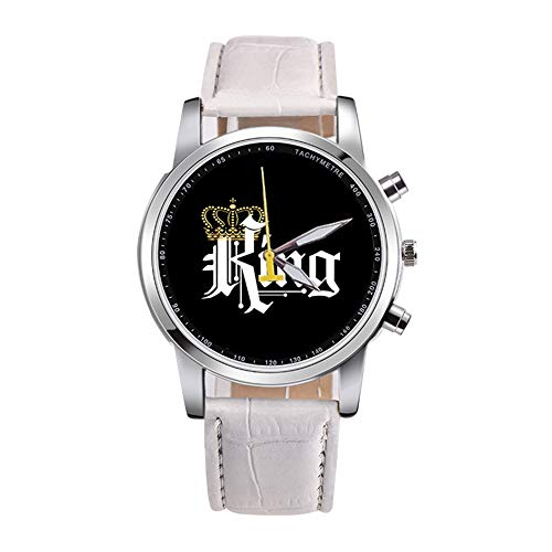 Festnight King Queen Movimento al Quarzo Ragazzi e Ragazze Guarda Orologi Multifunzione Moda King White
