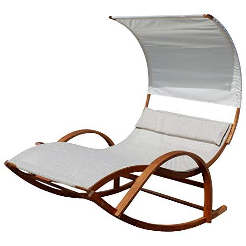 ASS Doppel Schaukelliege Sonnenliege aus atmungsaktivem Kunststoffgewebe mit Kopfpolster und Dach ergonomisch geschwungen, Ausstattung:Holz Lärche Flora
