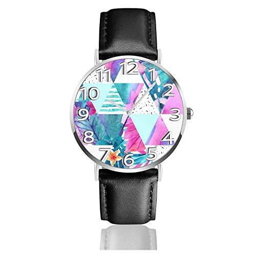 LREFON Armbanduhr Aquarell Geometrische Exotische Blumen Langlebige PU-Lederband Quarz Business-Uhren Unisex Casual Armbanduhr