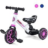 Peradix 3 EN 1 Triciclo para Niños, Bicicleta Desmontable de Pedales, Bicicleta Sin Pedales para Niños y Niñas, Bicicleta de Equilibrio para Bebé 1-3 Años, Cochecito con Ruedas Regulables