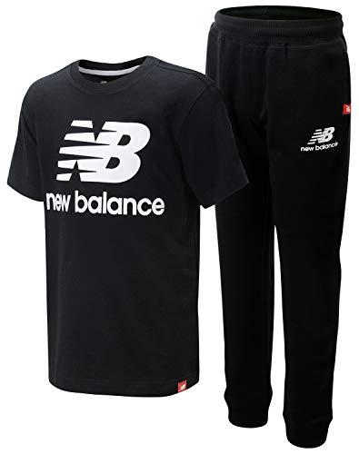 New Balance Boys' Active Jogger Set - Short Sleeve Performance T-Shirt and Sweatpants Set (2 Piece), Size 14/16, Black