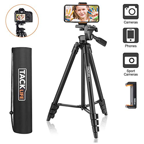 TACKLIFE Tripod,Lightweight Tripod 136cm(54')of Aluminum with portable Carry Bag,1/4' Mounting Screw,Maximum Load Capacity 3kg,Adjustable Tripod for travel,Cell phone,camera photography,laser measure