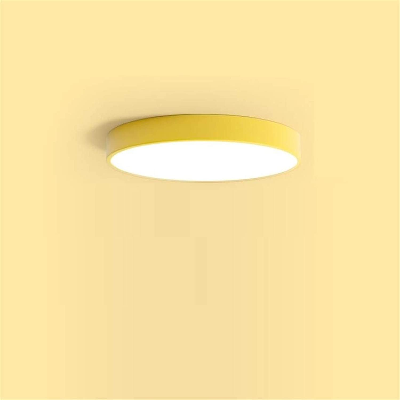 Deckenleuchte Nordic Gelbe Runde Schlafzimmerlampe Moderne Persnlichkeit Wohnzimmer Kreative Led-Deckenleuchte Einfache Restaurantlampen