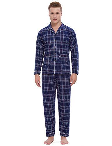ARBLOVE Pijama clásico largo para hombre, de algodón, de invierno, a rayas, dos piezas, camiseta...