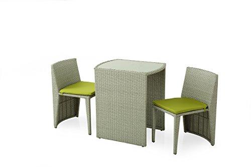 Domus Stile Guttuso Salotto da Giardino composto da tavolo e 2 sedie collocabili a scomparsa sotto il tavolo, Acciaio e Rattan Sintetico, Grigio, 66 x 50.5 x 74 cm, 5 Unità