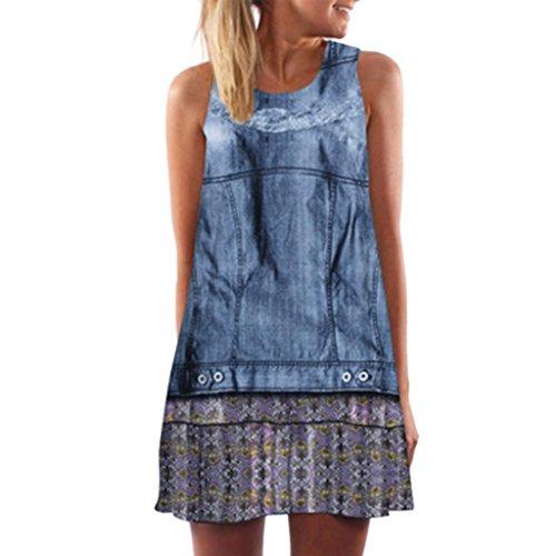 OSYARD Damen Vintage O-Neck ärmelloses a-Linien-Kleid Boho Sommer Strandkleid mit Alloverprint Minikleid Regulär Fit