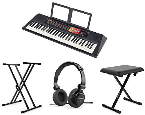 YAMAHA PSR-F51 Pack Soporte Tijera + Auriculares Audibax RH5 + Banco Piano