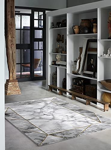 wecon home Alfombra de pelo corto gris plata crema dorado para salón, dormitorio o pasillo, M.A.R.B.L.E & B (80 x 150 cm)