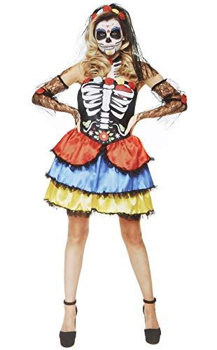 Karnival Costumes- Halloween Day of The Dead Senorita Disfraz, Multicolor, XS (84184)