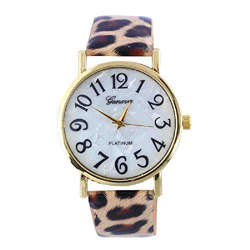 OLUYNG Armbanduhr Womens Lady Watch Quarz Stunden feine Uhr Mode Kleid Mode Lederarmband Julius Leopard Panther Mädchen Geschenk Print & Ff