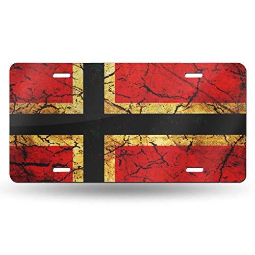 KLR6SYUI-T Vintage Norwegen Flaggenkennzeichen Dekoratives Autokennzeichen, Waschtischschild, Metallautokennzeichen, Aluminium-Neuheitskennzeichen