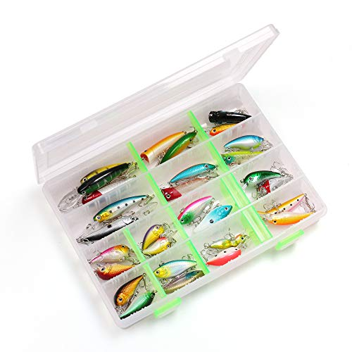LotFancy 30 PCS Fishing Lures for Freshwater with Storage Box, Bass Lures, Length from 1.57 to 3.66 Inches