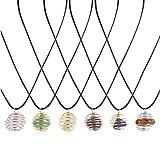 MILISTEN 6 Piezas de Collar de Cuentas de Piedra Natural Joyas de Cuello de Piedras Preciosas para Mujer Señoras Collar de Jaula de Piedra Decorativa Accesorios de Collar de Cumpleaños
