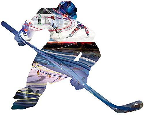 1art1 Hockey - Eishockey-Spieler, Motivgröße 58 x 45 cm Wand-Tattoo | Deko Wandaufkleber für Wohnzimmer Kinderzimmer Küche Bad Flur | Wandsticker für Tür Wand Möbel/Schrank 60 x 35 cm