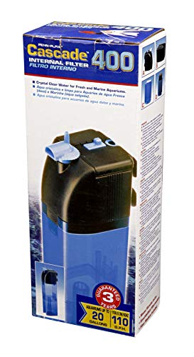 Penn Plax Cascade 400 Submersible Aquarium Filter Cleans Up to 20 Gallon Fish Tank With Physical, Chemical, and Biological Filtration, CIF2
