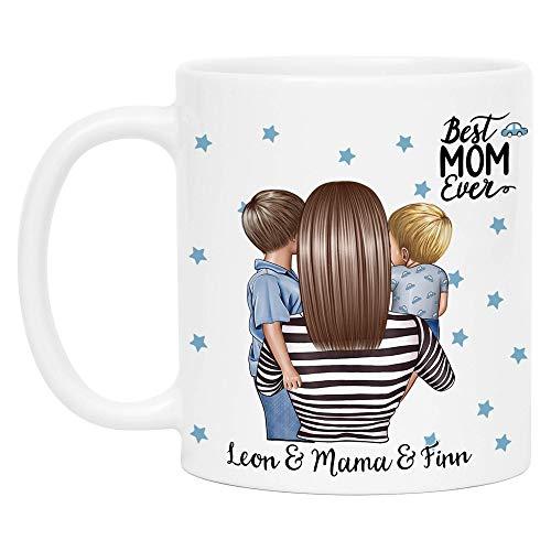 Kiddle-Design Mutter Kind Tasse Personalisiert Name und Frisur Mama Kinder Sohn Söhne Baby Geschenk Kaffeetasse für Mütter Muttertag Geschenk