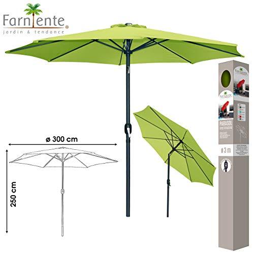 Lifetime Rond Couleur Vert : Parasol Jardin Pied Metal MANIVELLE Aluminium Toile 3 M Gris Anthracite