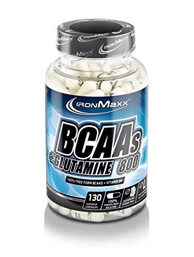 IronMaxx BCAA's + Glutamin 800 – Pre Workout Booster für die extra Portion Power im Krafttraining – 1 x 130 Kapseln
