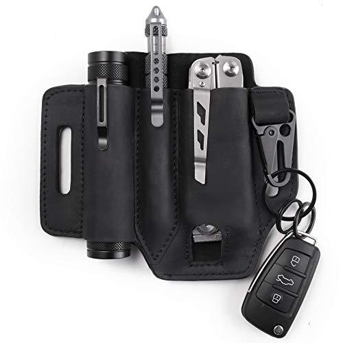 Gentlestache Multitool Sheath for Belt, Leather EDC Pocket Organizer for Men, Leatherman Sheath with Pen Holder, Key Fob, Flashlight Sheath, EDC Leather Pouch Black