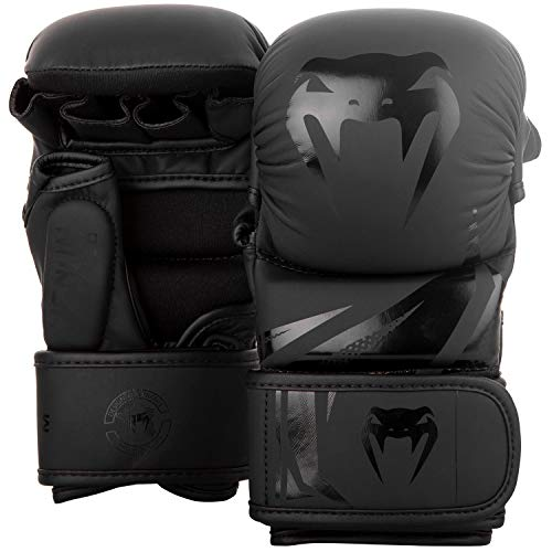 VENUM Challenger 3.0 Guantes de MMA Sparring, Unisex Adulto, Negro/Negro, M