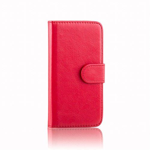 32nd PU Leder Mappen Hülle Flip Hülle Cover für Alcatel Pixi 4 (4.0), Ledertasche hüllen mit Magnetverschluss & Kartensteckplatz - Rot