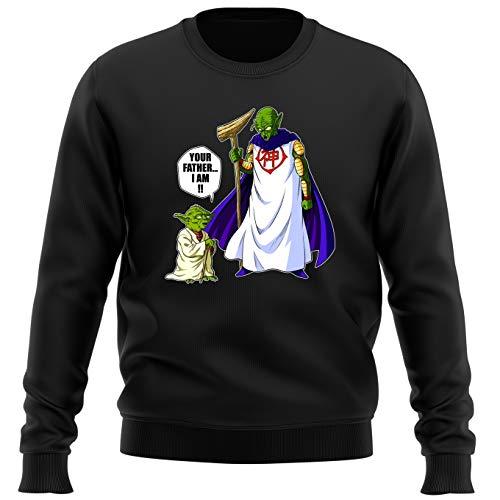 Pull Noir Parodie Dragon Ball Z - Star Wars - Yoda et Le Tout-Puissant - Traduction Anglais (Sweatshirt de qualité Premium de Taille M - imprimé en France)