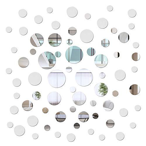 72 piezas acrílico redondo espejo DIY pegatinas de pared removibles acrílico espejo pegatinas de pared para sala de estar,comedor, dormitorio,pasillo decoración de la casa,adhesivo de pared decoración
