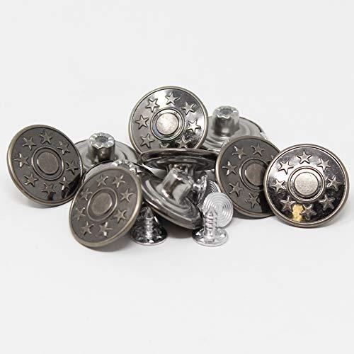 BIG-SAM - 10 Metallknöpfe/Jeansknöfe - ⌀ 20mm - Altkufer, Altsilber oder Silber - mit Motiven - Nähfrei! (Altsilber)