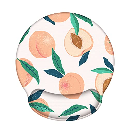 Ergonomic Mouse Pad with Gel Wrist Rest Support, iLeadon Non-Slip Rubber Base Wrist Rest Pad for Home, Office Easy Typing & Pain Relief, Peach Fruit…