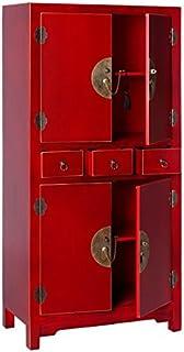 Tousmesmeubles Armoire 4 Portes, 3 tiroirs Rouge Meuble Chinois - Pekin - L 63 x l 33 x H 131 - Neuf