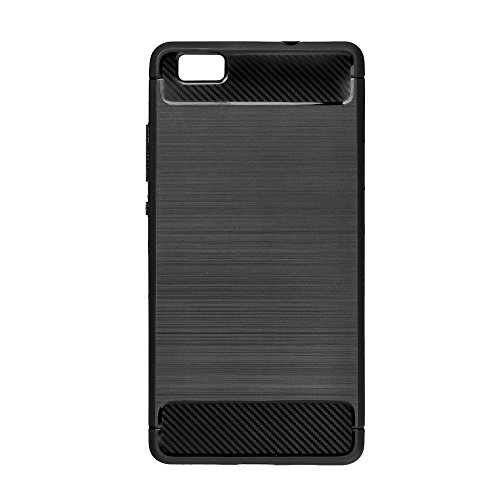FORCELL CARBON schwarz Case Hülle für Huawei P8 Lite 2017 / P9 Lite 2017 / Huawei Nova Lite / Honor 8 Youth Edition Huawei Ascend P8 Lite Hülle Etui Flip Cover TPUTasche Back Case