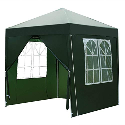 2x2m Pop Up Gazebo with Sides Heavy Duty Outdoor Folding Canopy Tent, Garden Backyard Patio Marquee Awning Shelter for Party Wedding Commercial Grade Market Stall + Handbag, Green/Blue【UK STOCK】