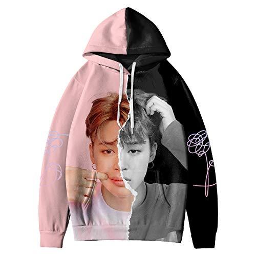 HAIZIVS Kpop BTS Love Yourself Answer Jimin Unisex Pink and Black Kapuzenpullover 3D Digitaldruck Sweatshirt (Medium)