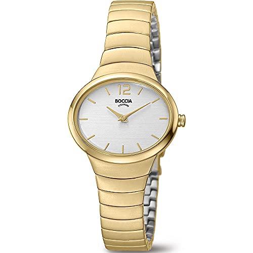 Boccia Damen Analog Quarz Uhr mit Titan Armband 3280-02