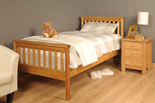 3ft single solid pine wooden bed caramel