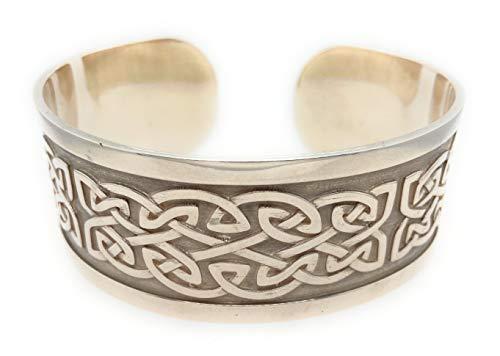 John Weldon Jewellers Pulsera ancha de plata de ley para hombre y mujer, fabricada en Irlanda