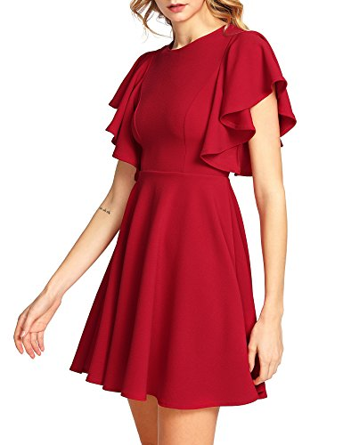 Romwe Women's Stretchy A Line Swing Flared Skater Cocktail Party Dress Red L