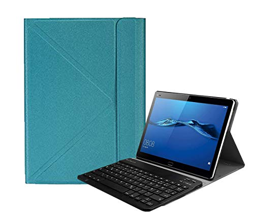 Tiamu Funda para tablet + teclado inalámbrico para Teclast P20HD M40 IPlay20 / PRO para 9,7-10,4 pulgadas universal (azul lago)