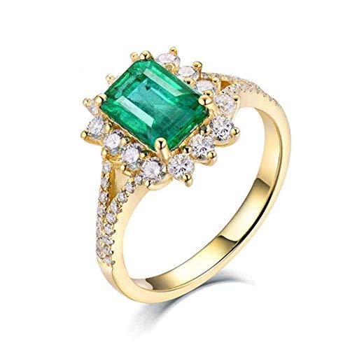 AnazoZ Anillo Mujer Verde Esmeralda,Anillos de Boda Oro Amarillo 18K Oro Verde Rectángulo Flor Esmeralda Verde 2ct Diamante 0.82ct Talla 11