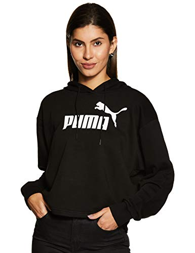PUMA Damen ESS+ Logo Cropped Hoody Pullover, Cotton Black, XS