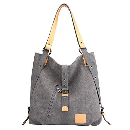 PB-SOAR Damen Vintage Canvas Schultertasche Rucksack Handtasche Freizeittasche Shopper Hobo Tasche Rucksackhandtasche Vielseitige Tasche (Grau)
