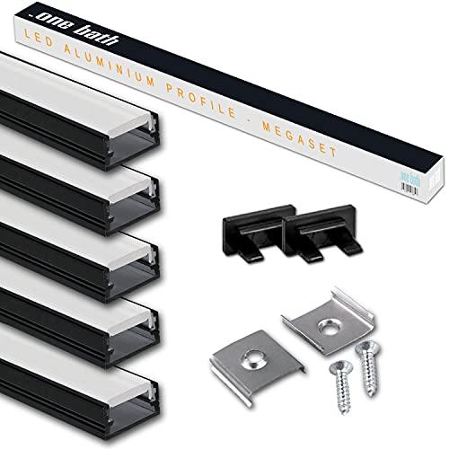 LED Aluprofil 2m am Stück I LED Alu Profile 5x2m Schwarz satiniert I Aluminiumprofil für LED Stripes I Lichtleiste I Aufputz