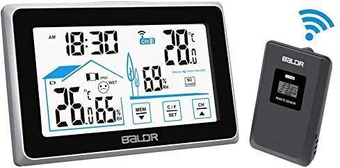 Wetterstation, digitale Indoor Outdoor Thermometer Prognosestation mit Touch Tasten, Heimtemperatur und Luftfeuchtigkeitsmonitor, digitaler Tabletop Hygrometer Fernbedienungssensor mit großem Display