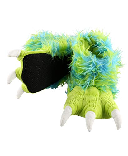 Lazy One Animal Paw Slippers for Adults and Kids (Monster Green, XS)