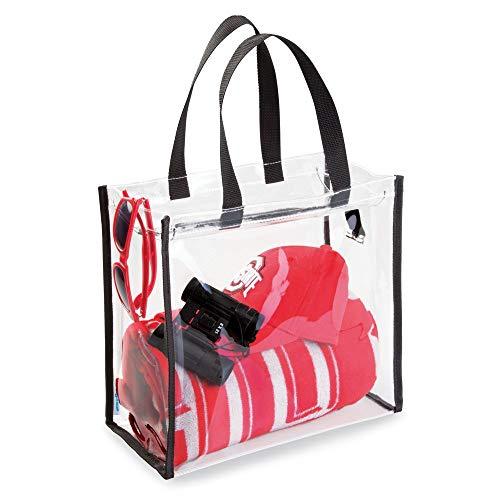 mDesign Reisetasche für Accessoires – Tasche für Strand, Pflegeprodukte oder Kosmetik – Tragetasche transparent/schwarz