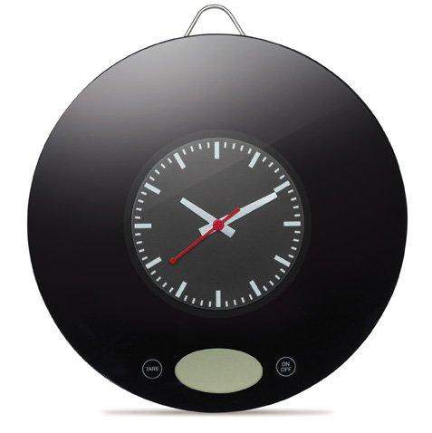 Küchenwaage digital Wandmontage mit Uhr, wiegt bis zu 3 kg, Umstellung auf Pfund (lb) möglich, Batterie inklusive