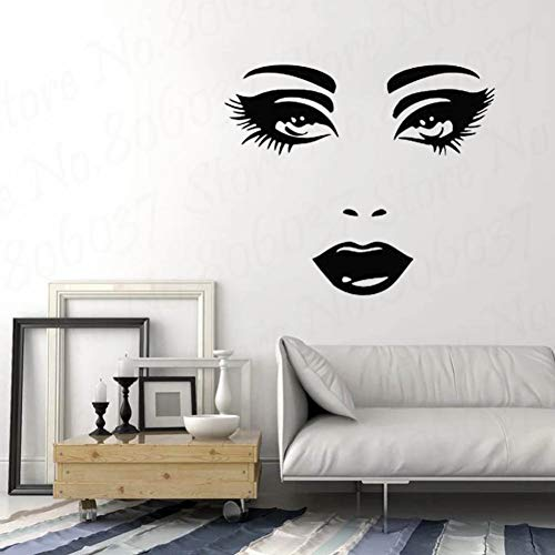 TAOYUE Makeup Wall Decal Vinyl Sticker Decals Mural Make Up Girl Woman Eyes Face Lips Cosmetic Hairdressing Beauty Salon Decor